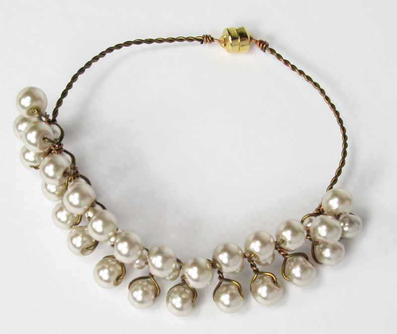 Almond Pearl Wrapped Bracelet